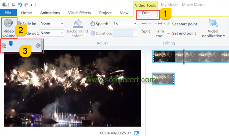 mute audio video in windows movie maker