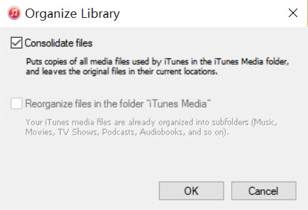 Back up iTunes music from Windows PC to external hard drive