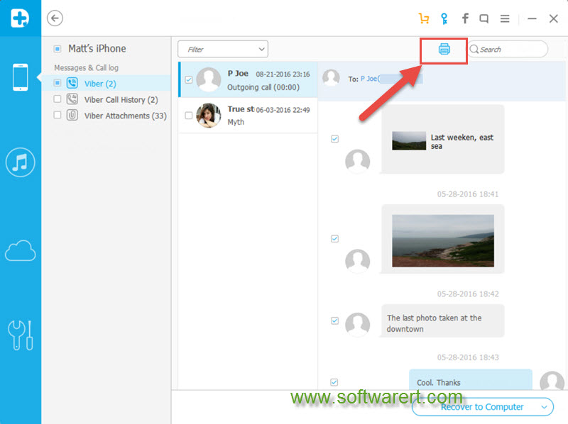 print viber messages, call history from iphone