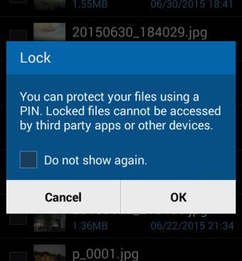protect lock files on samsun phone confirmation