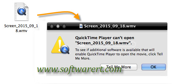 quicktime player cannot open wmv windows media video error