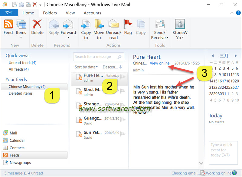 read rss feed using windows live mail for windows 10