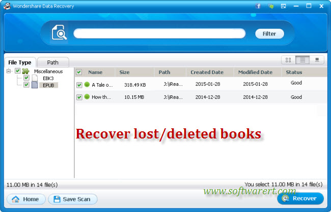 recover deleted lost books to computer