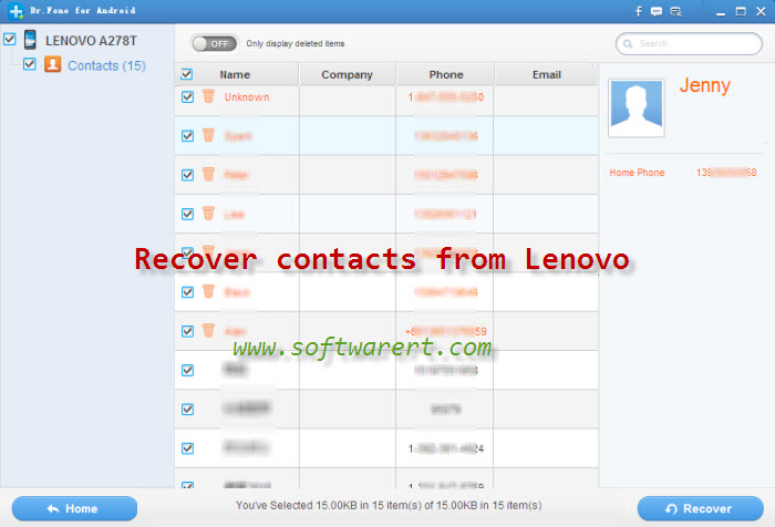 recover contacts from lenovo mobile phone