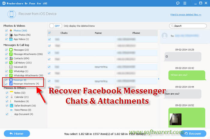 recover facebook messenger messages and chats history on iphone