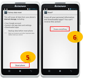 reset phone and erase everything on lenovo s890