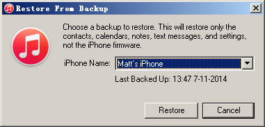 restore iphone from backup in itunes