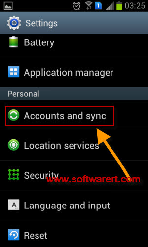 Android accounts and sync settings