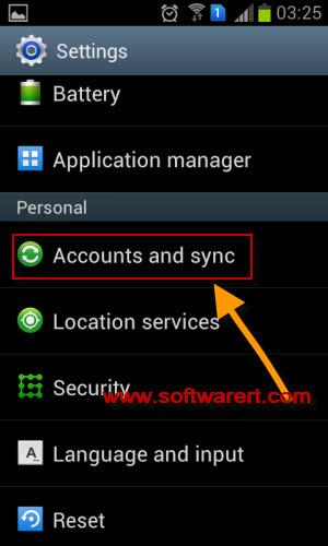 samsung accounts and sync settings