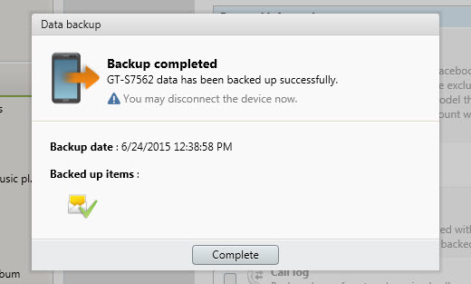 samsung messages backup completed using kies