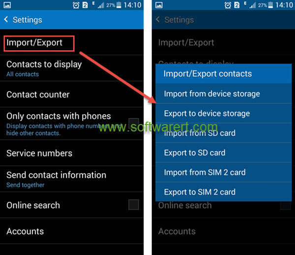 samsung phone contacts import export settings