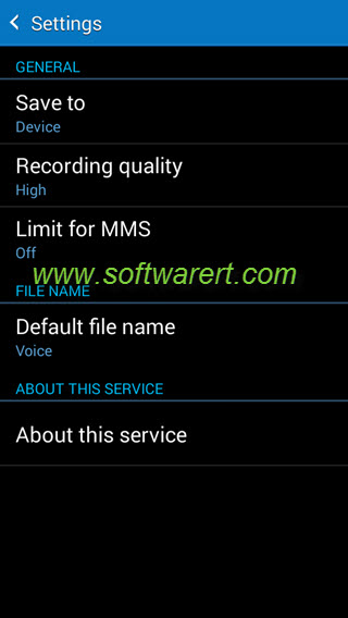 samsung phone voice recorder app settings