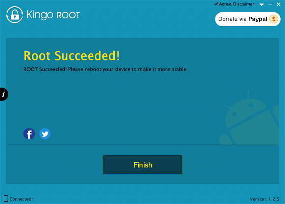 samsung smartphone rooting finished