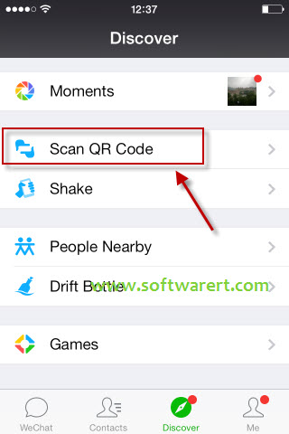 Scan QR Code using WeChat on iPhone