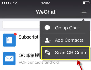 scan qr code in wechat for iphone