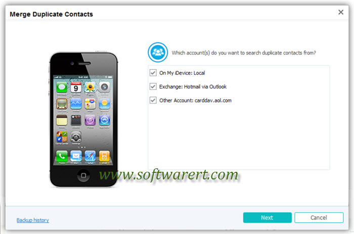 search duplicate contacts from selected accounts on iphone