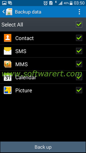 select data to backup samsung mobile