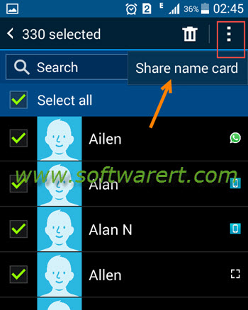 select and share name card on samsung mobile phone