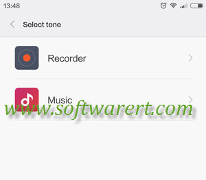select tone voice recorder or music player on xiaomi redmi