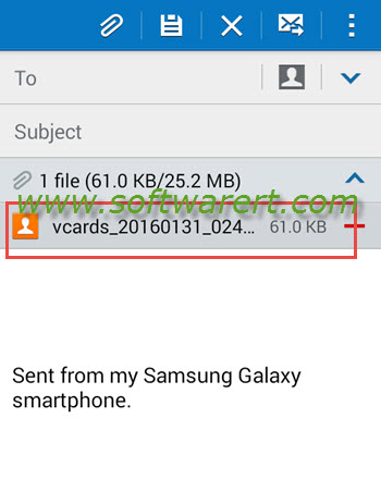 send vcard contacts through email from samsung mobile phone