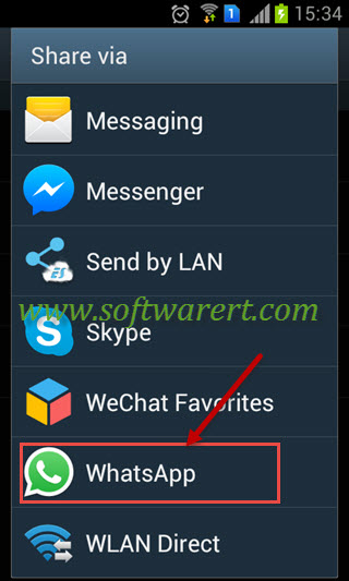 share data via whatsapp on android phone