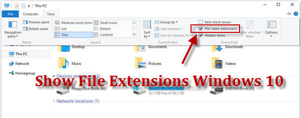 show file name extensions in windows 10