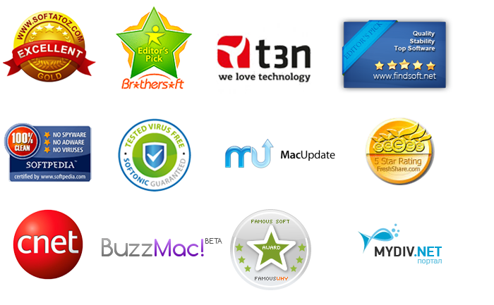 Software Products Awards from most popular software download and review websites.
