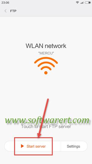 start ftp server on xiaomi redmi mobile phone
