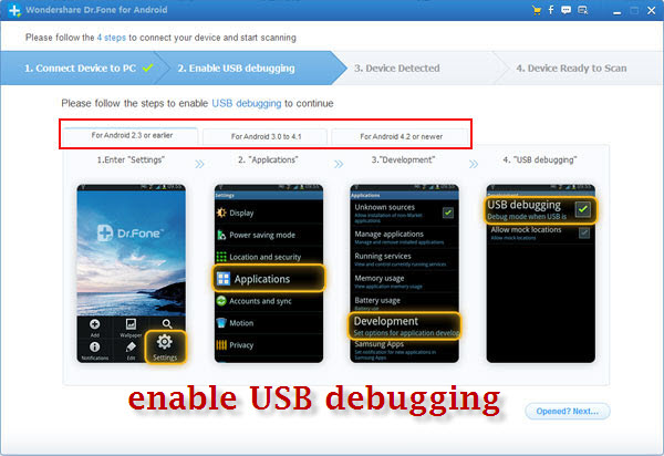 steps to enable usb debugging on android phones