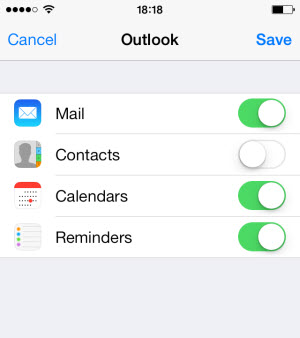 sync hotmail mail, contacts, calendars, reminders to iphone
