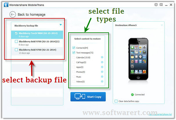 transfer contacts from Blackberry backup to iphone