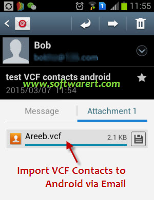 transfer & import vcf contacts to android phone via email