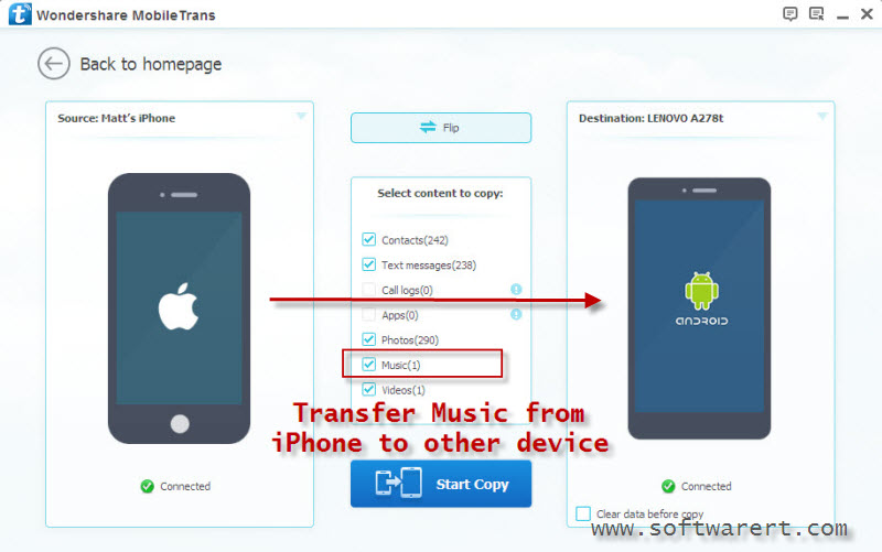 transfer music from iphone to other phone