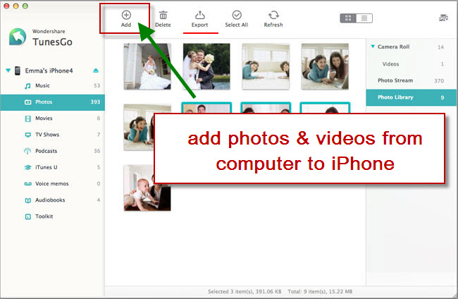 transfer photos videos from computer to iphone using tunesgo