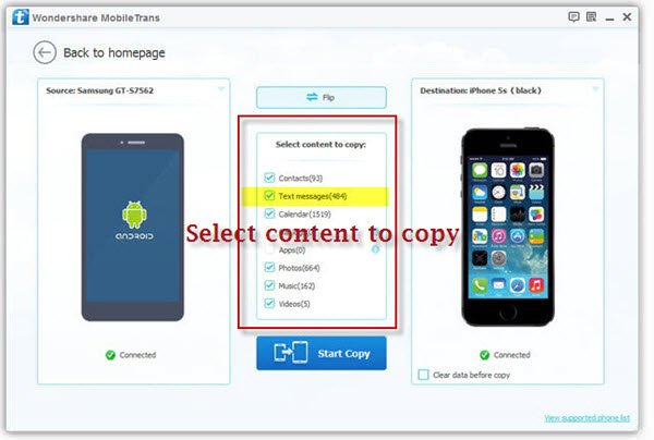 transfer sms messages from android to iphone
