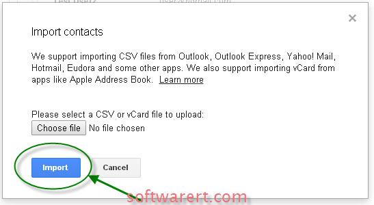 upload contacts to gmail server