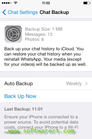 backup whatsapp chat on iphone