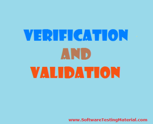 What is Verification And Validation In Software Testing