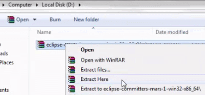 Install Eclipse - Extract Eclipse File