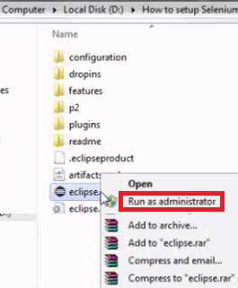 Install Eclipse - Run As Admin