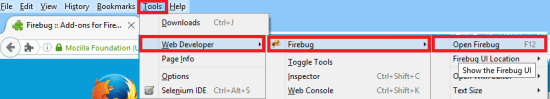 Install Fire Bug - Go To Menu Tools WebDeveloper FireBug