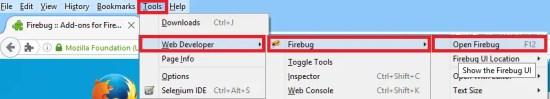 Install Fire Bug - Go To Menu Tools WebDeveloper FireBug