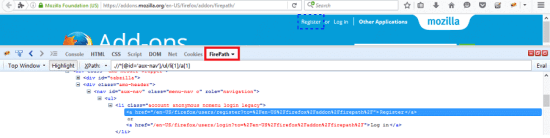 Install Fire Path - Go To Menu Tools WebDeveloper FireBug Open FireBug