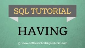 SQL HAVING – SQL Tutorial | Software Testing Material