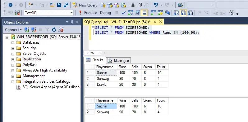 SQL In Operator