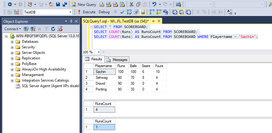 SQL Aggregate Functions Count