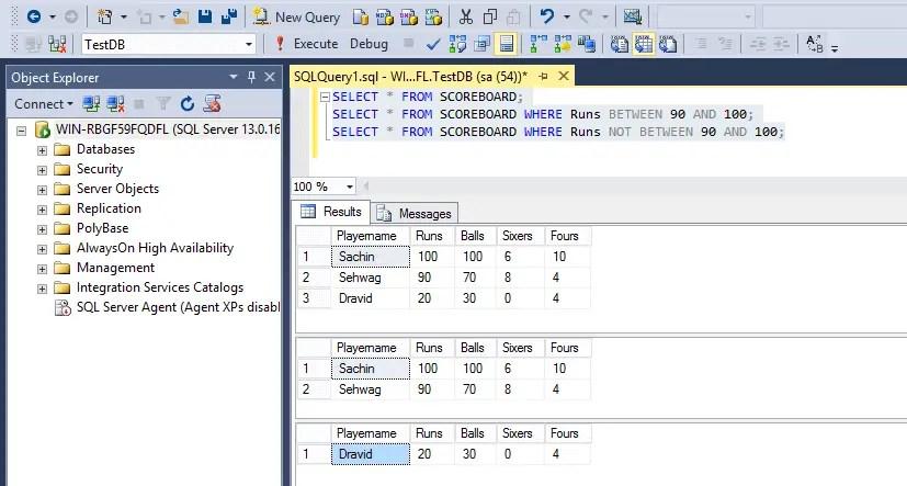 SQL Not Between