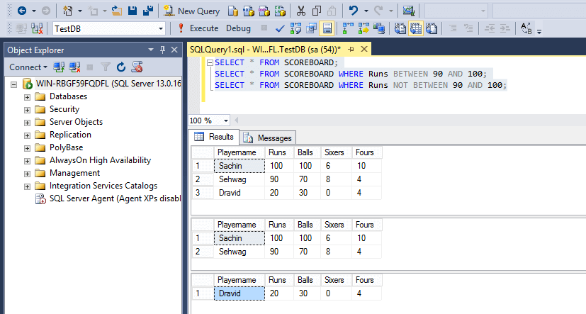 SQL Not Between
