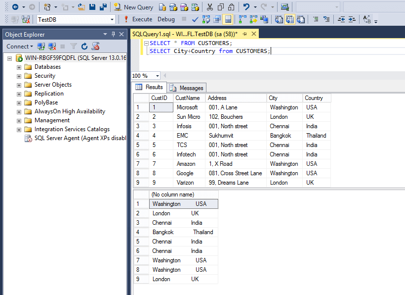 SQL String Function Concatination