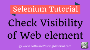 Check Web element Visibility Using Selenium WebDriver Commands – IsSelected IsDisplayed IsEnabled